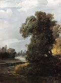 Летний день. Ивы на берегу реки. 1856