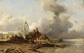 Isabey_Louis_Gabriel_Eugene/A_Village_by_the_Sea